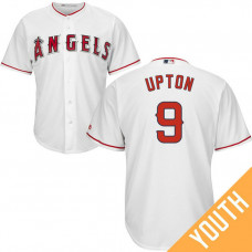 YOUTH Los Angeles Angels #9 Justin Upton Home White Cool Base Jersey