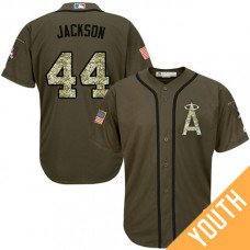 YOUTH Reggie Jackson #44 Los Angeles Angels Salute to Service Olive Cool Base Jersey