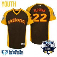 YOUTH 2016 All-Star National Los Angeles Dodgers Clayton Kershaw #22 Brown Cool Base Jersey