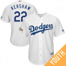 YOUTH Clayton Kershaw #22 Los Angeles Dodgers 2017 Postseason White Cool Base Jersey