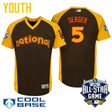 YOUTH 2016 All-Star National Los Angeles Dodgers Corey Seager #5 Brown Cool Base Jersey