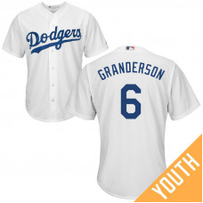 YOUTH Los Angeles Dodgers #6 Curtis Granderson Home White Cool Base Jersey