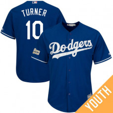 YOUTH Justin Turner #10 Los Angeles Dodgers 2017 Postseason Royal Cool Base Jersey