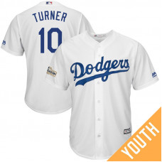 YOUTH Justin Turner #10 Los Angeles Dodgers 2017 Postseason White Cool Base Jersey