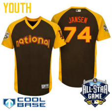 YOUTH 2016 All-Star National Los Angeles Dodgers Kenley Jansen #74 Brown Cool Base Jersey