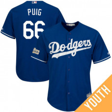 YOUTH Yasiel Puig #66 Los Angeles Dodgers 2017 Postseason Royal Cool Base Jersey
