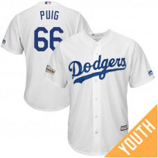 YOUTH Yasiel Puig #66 Los Angeles Dodgers 2017 Postseason White Cool Base Jersey