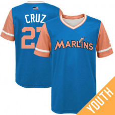 YOUTH Miami Marlins Giancarlo Stanton #27 Cruz Orange Nickname 2017 Little League Players Weekend Jersey