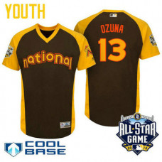 YOUTH 2016 All-Star National Miami Marlins Marcell Ozuna #13 Brown Cool Base Jersey