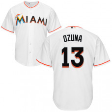 YOUTH Miami Marlins Marcell Ozuna #13 White Authentic Cool base Jersey