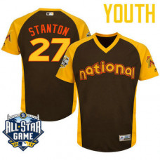 YOUTH 2016 All-Star National Miami Marlins Giancarlo Stanton #27 Brown Cool Base Jersey