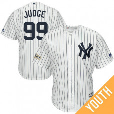 YOUTH Aaron Judge #99 New York Yankees 2017 Postseason White Cool Base Jersey