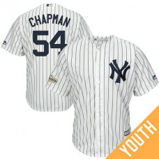 YOUTH Aroldis Chapman #54 New York Yankees 2017 Postseason White Cool Base Jersey