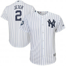 YOUTH New York Yankees #2 Derek Jeter Home Number Retirement Day White & Navy Cool Base Jersey