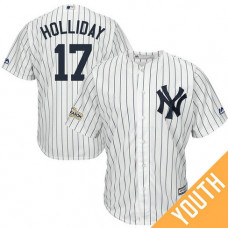 YOUTH Matt Holliday #17 New York Yankees 2017 Postseason White Cool Base Jersey