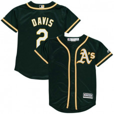 YOUTH Khris Davis #2 Oakland Athletics Alternate Green Cool Base Jersey