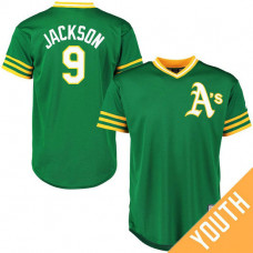 YOUTH Reggie Jackson #9 Oakland Athletics Alternate Green Cool Base Jersey
