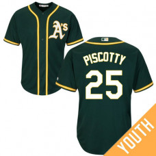 YOUTH Oakland Athletics #25 Stephen Piscotty Alternate Green Cool Base Jersey