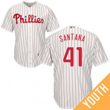YOUTH Philadelphia Phillies #41 Carlos Santana Home White Cool Base Jersey