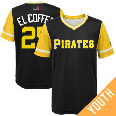 YOUTH Pittsburgh Pirates Gregory Polanco #25 El Coffee Black Nickname 2017 Little League Players Weekend Jersey