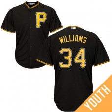 YOUTH Pittsburgh Pirates #34 Trevor Williams Alternate Black Cool Base Jersey