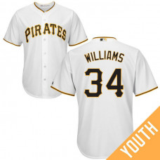 YOUTH Pittsburgh Pirates #34 Trevor Williams Home White Cool Base Jersey