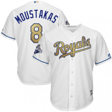 YOUTH Mike Moustakas #8 Kansas City Royals White World Series Champions Gold Program Cool Base Jersey