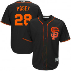 YOUTH San Francisco Giants #28 Buster Posey Replica Alternate Black Cool Base Jersey