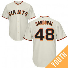 YOUTH San Francisco Giants #48 Pablo Sandoval Home Cream Cool Base Jersey
