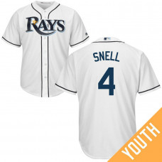 YOUTH Tampa Bay Rays #4 Blake Snell Home White Cool Base Jersey