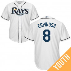 YOUTH Danny Espinosa #8 Tampa Bay Rays Home White Cool Base Jersey