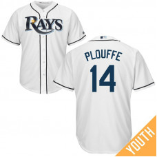 YOUTH Trevor Plouffe #14 Tampa Bay Rays Home White Cool Base Jersey