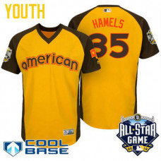 YOUTH 2016 All-Star American Texas Rangers Cole Hamels #35 Yellow Cool Base Jersey
