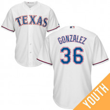 YOUTH Texas Rangers #36 Miguel Gonzalez Home White Cool Base Jersey
