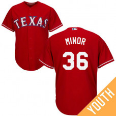 YOUTH Texas Rangers #36 Mike Minor Alternate Red Cool Base Jersey
