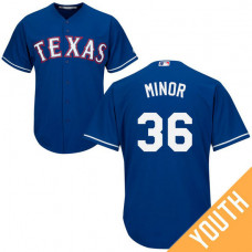 YOUTH Texas Rangers #36 Mike Minor Alternate Royal Cool Base Jersey