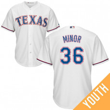 YOUTH Texas Rangers #36 Mike Minor Home White Cool Base Jersey