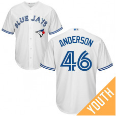 YOUTH Toronto Blue Jays #46 Brett Anderson Home White Cool Base Jersey