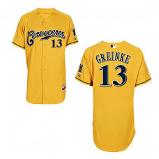 Milwaukee Brewers #13 Zack Greinke Yellow Cerveceros Cool Base Jersey