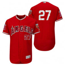 Los Angeles Angels #27 Mike Trout Scarlet 2018 Spring Training Flex Base Jersey