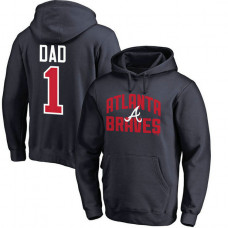 Atlanta Braves Father's Day Navy #1 Dad Player Pullover Hoodie