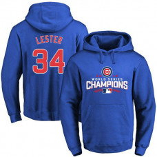 Cubs Jon Lester 2016 World Series Champions Walk Royal Pullover Hoodie