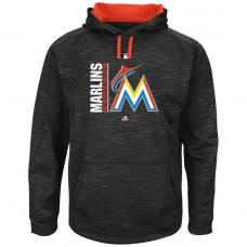 Marlins Authentic Collection Team Icon Streak Fleece Black Pullover Hoodie