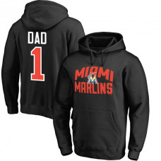 Miami Marlins Father's Day Black #1 Dad Player Pullover Hoodie