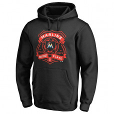Marlins Police Badge Black Pullover Hoodie