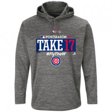 Chicago Cubs 2017 Postseason Authentic Collection Ultra Streak Fleece Pullover Gray Hoodie