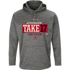 Arizona Diamondbacks 2017 Postseason Authentic Collection Ultra Streak Fleece Pullover Gray Hoodie