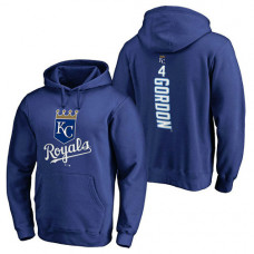 Kansas City Royals #4 Alex Gordon Backer Pullover Royal Hoodie