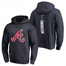 Atlanta Braves #7 Dansby Swanson Backer Pullover Navy Hoodie