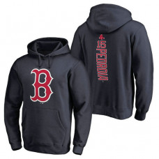 Boston Red Sox #15 Dustin Pedroia Backer Pullover Navy Hoodie